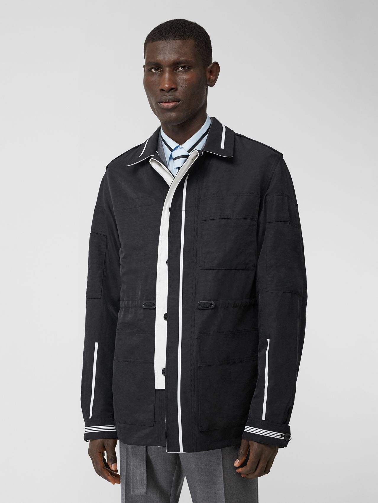 Reversible Striped Technical Linen Field Jacket in Black