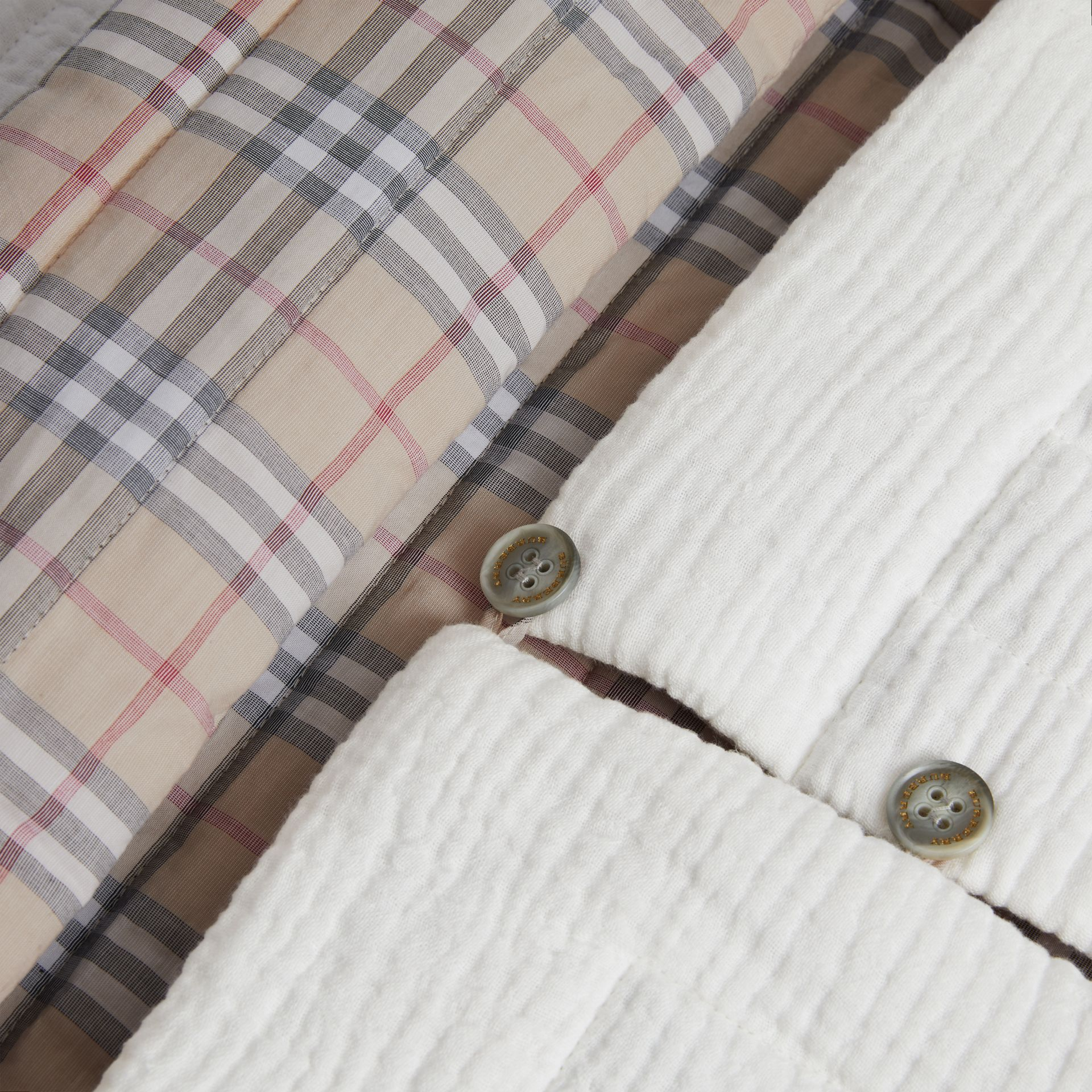 Check Cotton Baby Nest in White - Children | Burberry United States - gallery image 1