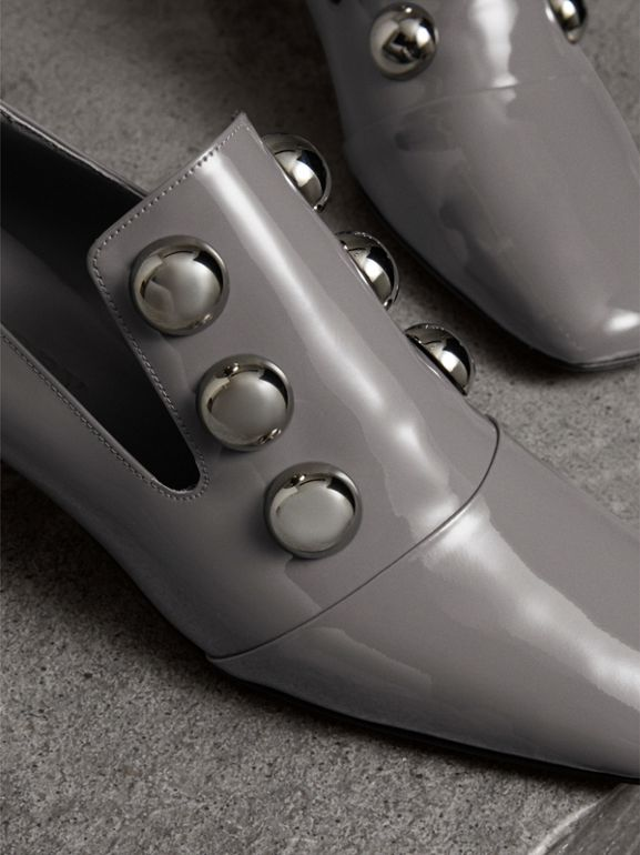 Stud Detail Patent Leather Pumps in Mid Grey - Women | Burberry Australia - cell image 1