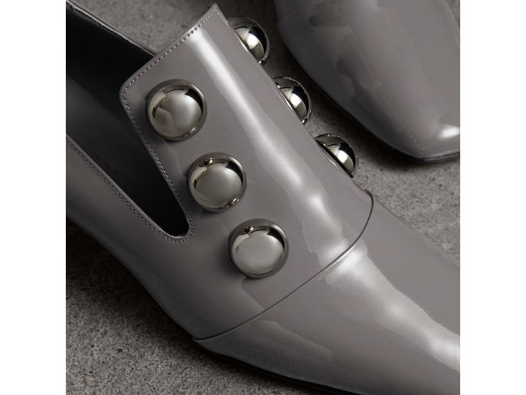 Stud Detail Patent Leather Pumps in Mid Grey - Women | Burberry United Kingdom - cell image 1