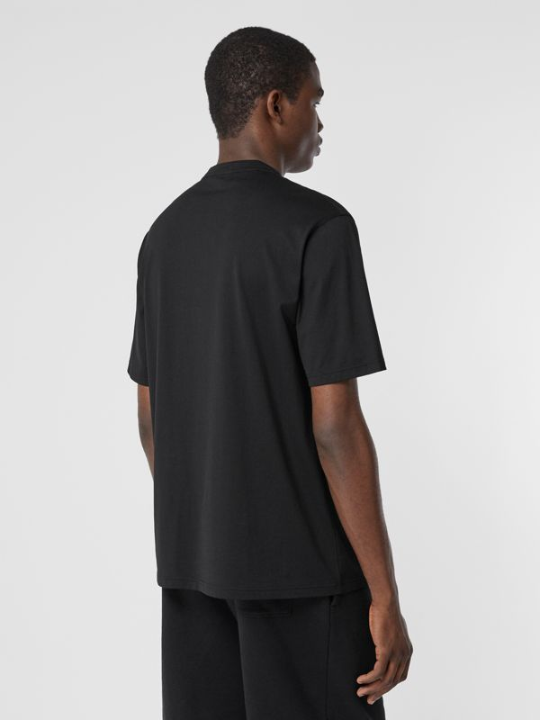 Contrast Logo Graphic Cotton T-shirt in Black - Men | Burberry - cell image 2