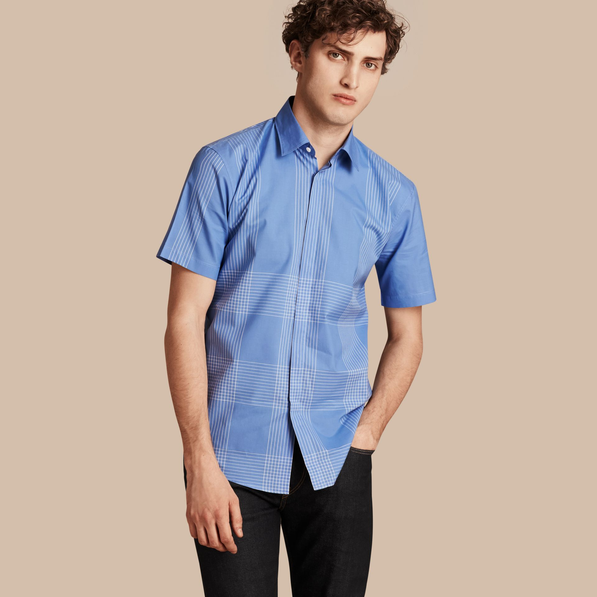Bright hydrangea blue Short-sleeved Check Cotton Shirt Bright Hydrangea Blue - gallery image 1