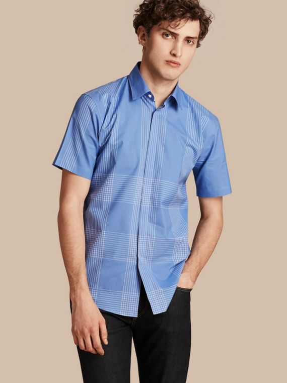 Short-sleeved Check Cotton Shirt Bright Hydrangea Blue