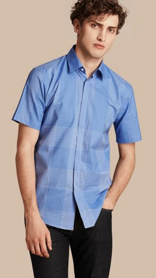 Short-sleeved Check Cotton Shirt