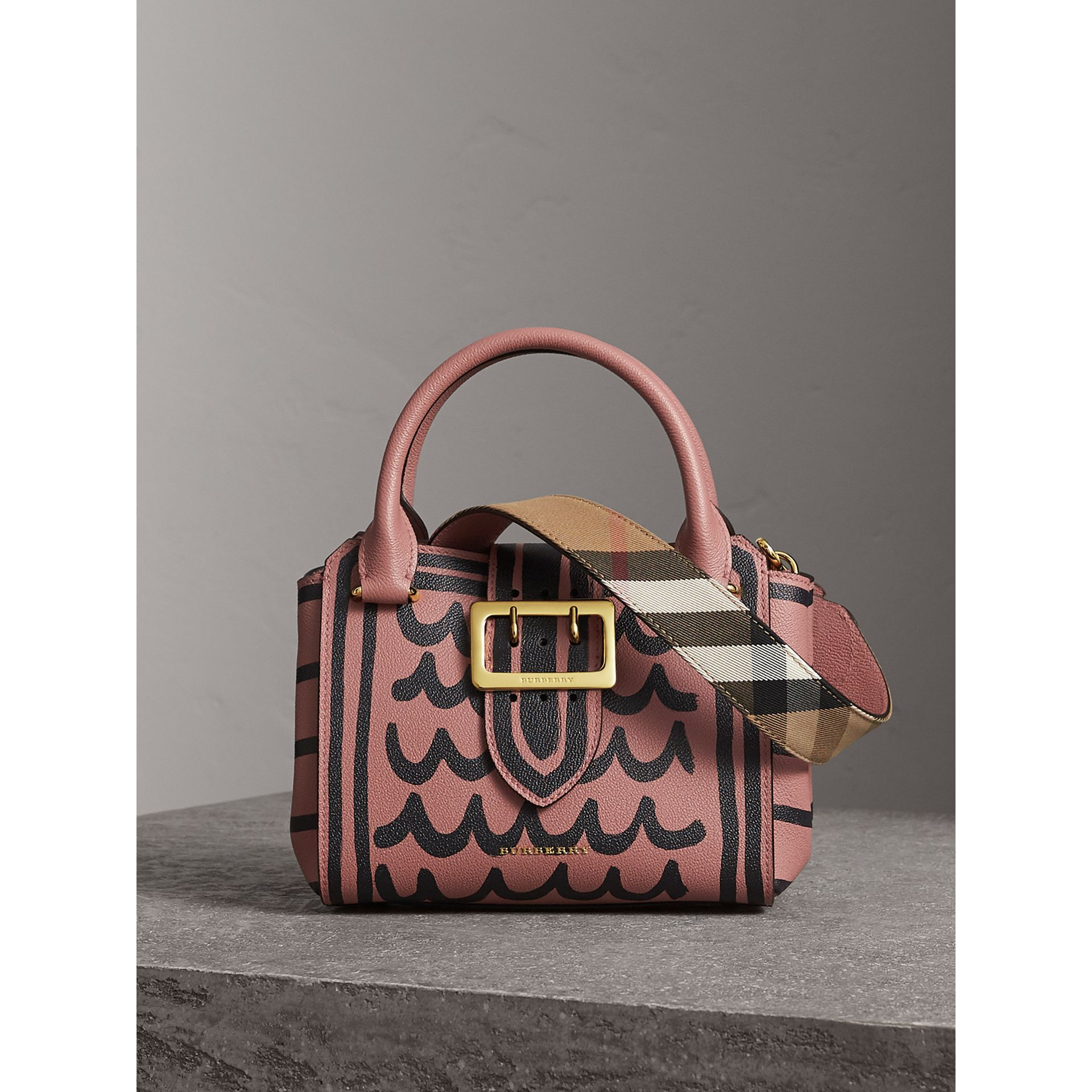 The Small Buckle Tote in Trompe L'oeil Print Leather in Dusty Pink - Women | Burberry Singapore - gallery image 1