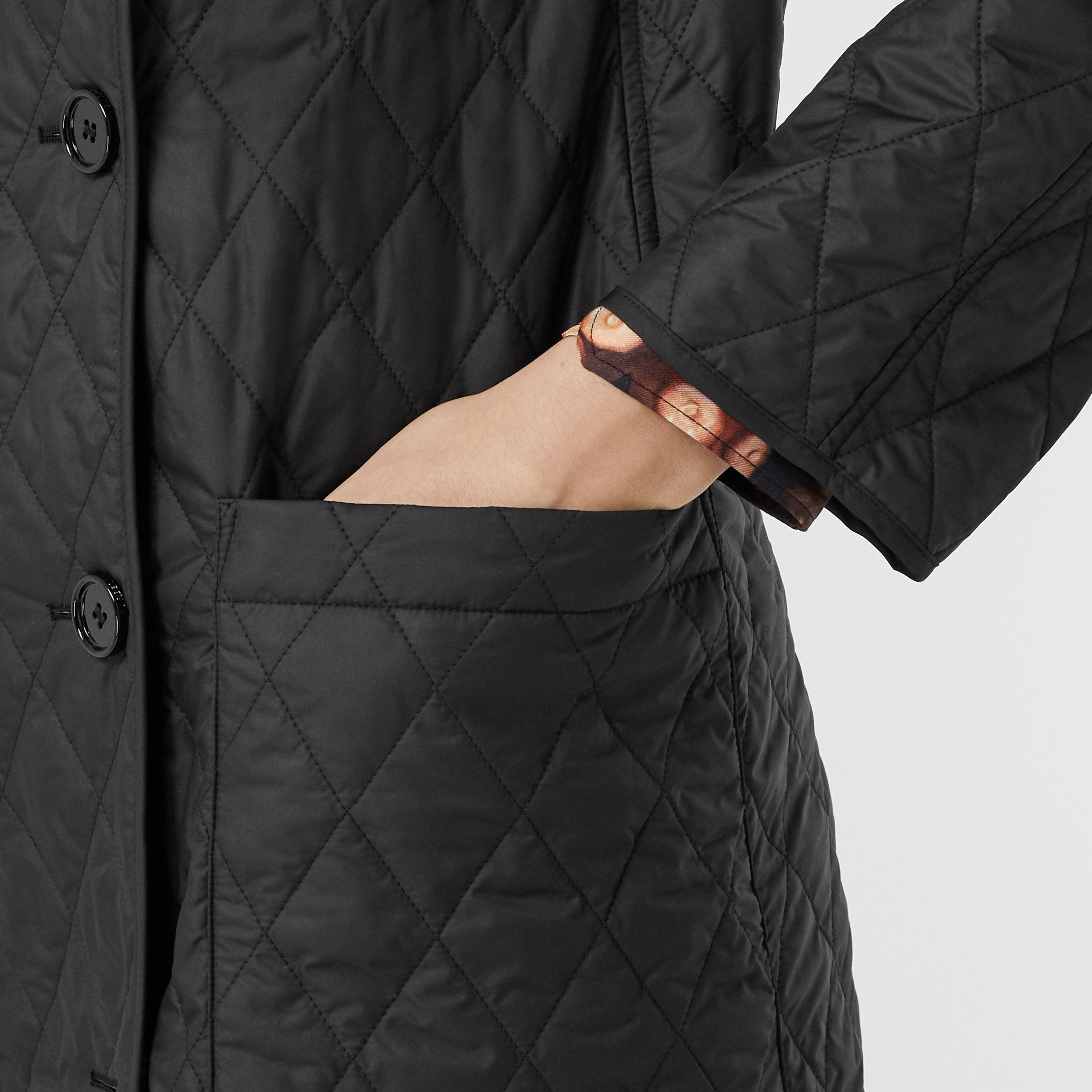 Diamond Quilted Double-breasted Coat in Black - Women | Burberry - gallery image 5