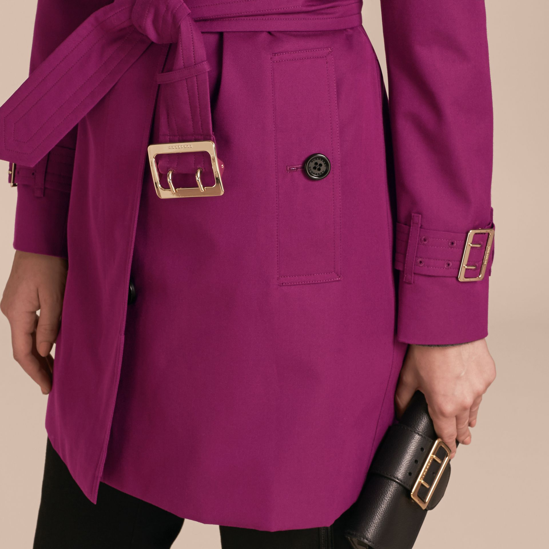 Single-breasted Trench Coat with Metal Buckle Detail Magenta Pink - gallery image 5