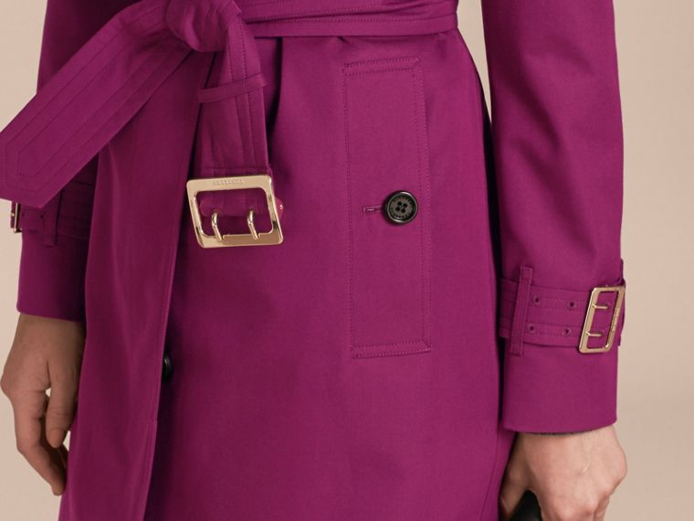 Magenta pink Single-breasted Trench Coat with Metal Buckle Detail Magenta Pink - cell image 4