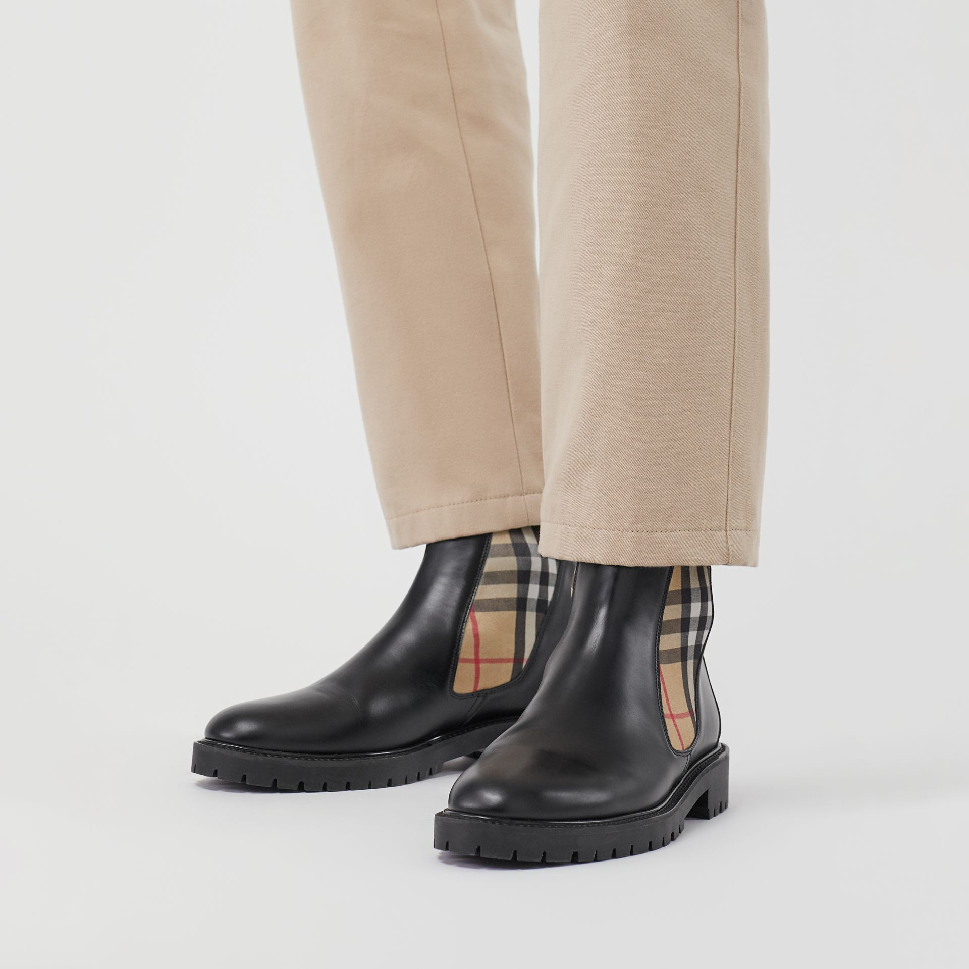 Vintage Check Detail Leather Chelsea Boots in Black - Men | Burberry United Kingdom - gallery image 2