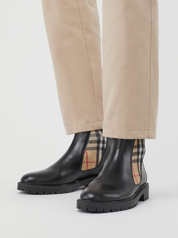Vintage Check Detail Leather Chelsea Boots in Black - Men | Burberry Singapore - cell image 2