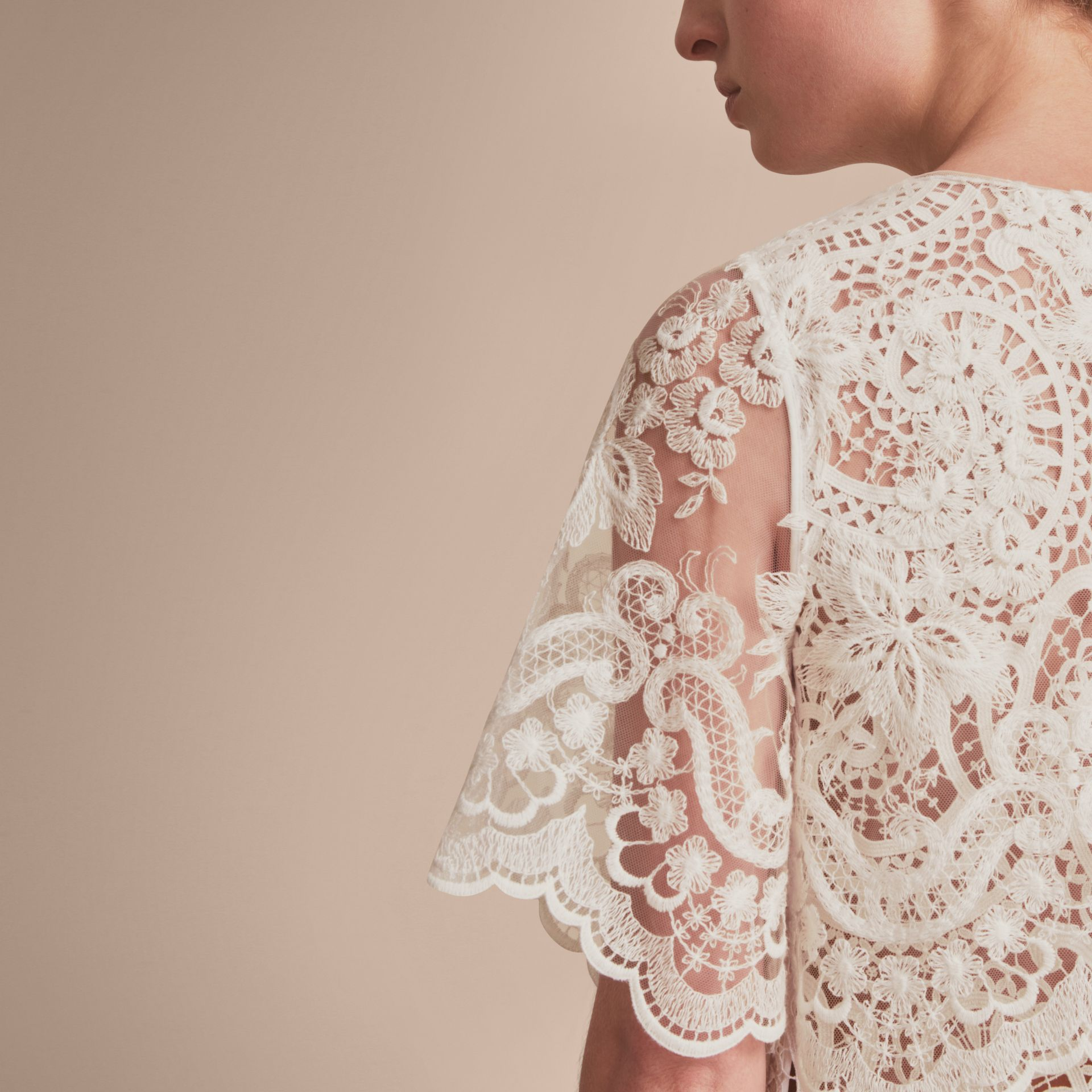 Layered Macramé Lace Shift Dress - Women | Burberry - gallery image 5