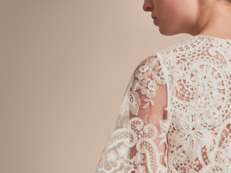Layered Macramé Lace Shift Dress - Women | Burberry - cell image 4