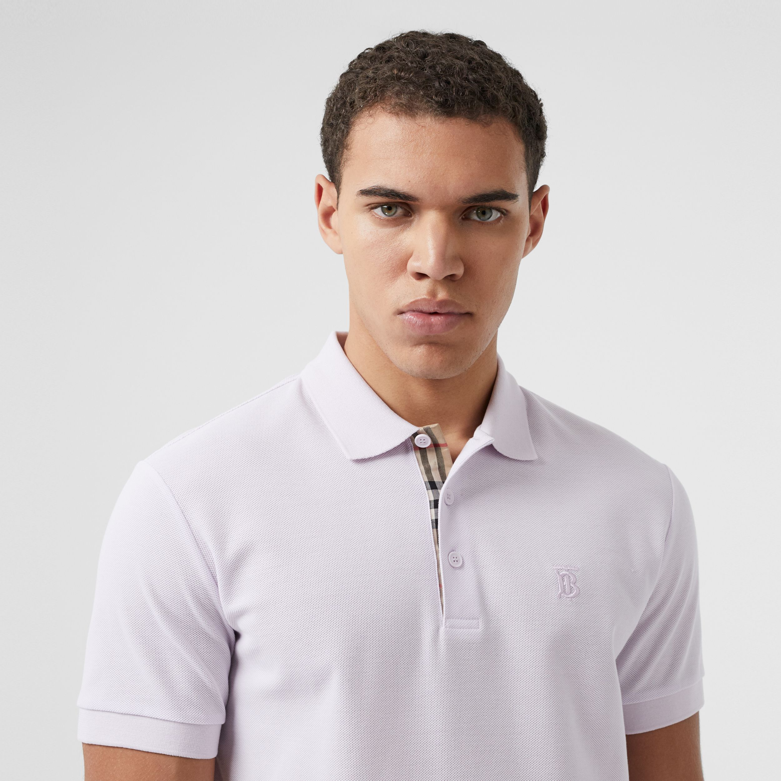 Monogram Motif Cotton Piqué Polo Shirt in Pale Thistle - Men | Burberry - 2