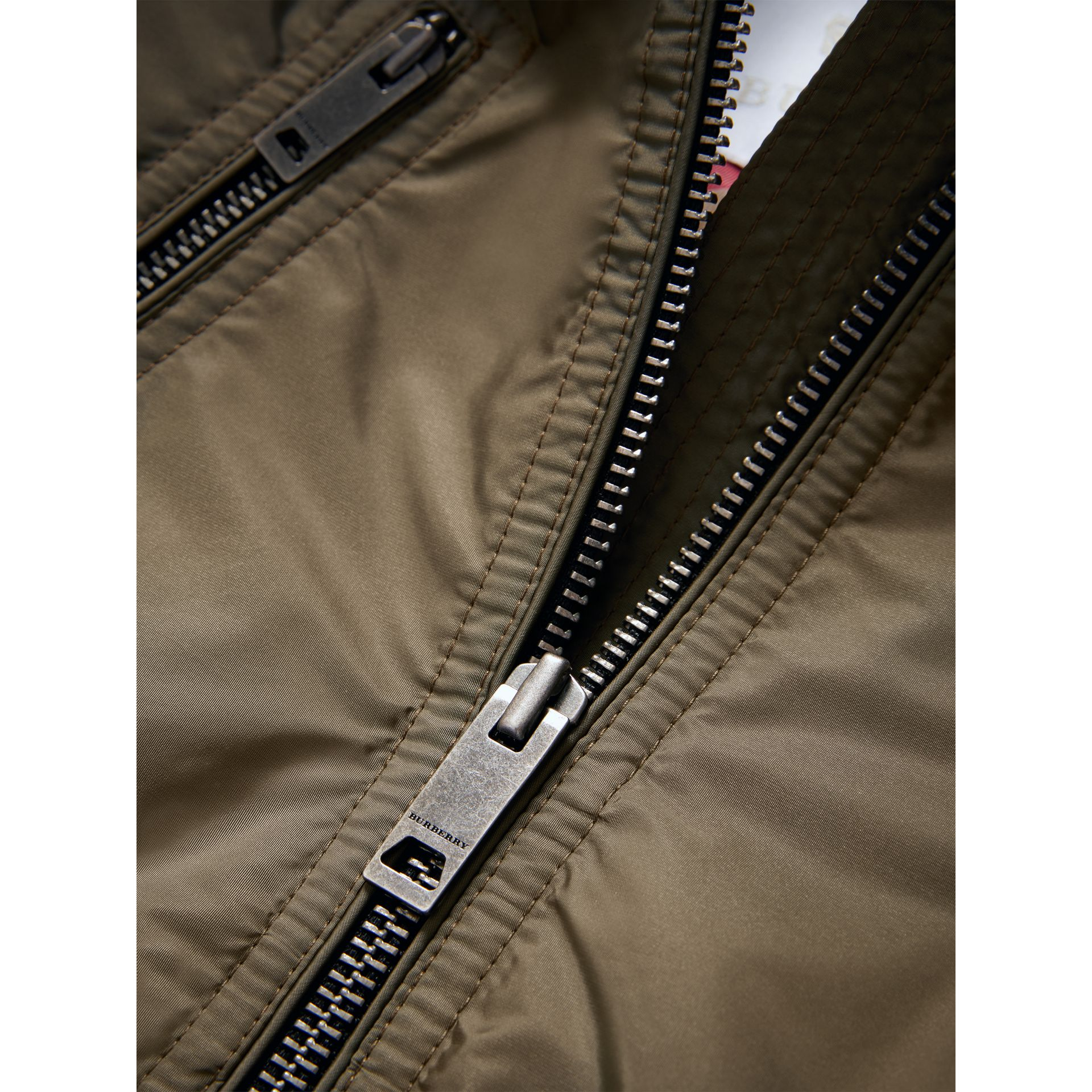 Hooded Packaway Technical Jacket in Olive | Burberry - gallery image 1