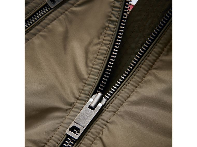 Hooded Packaway Technical Jacket in Olive - Girl | Burberry - cell image 1