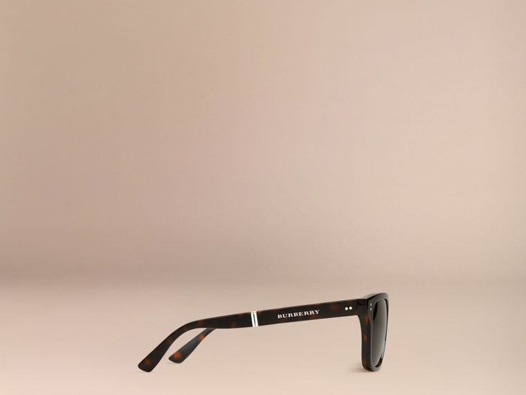 Folding Rectangular Frame Sunglasses in Dark Brown - Men | Burberry United Kingdom - cell image 4