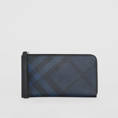 London Check And Leather Travel Wallet by Burberry