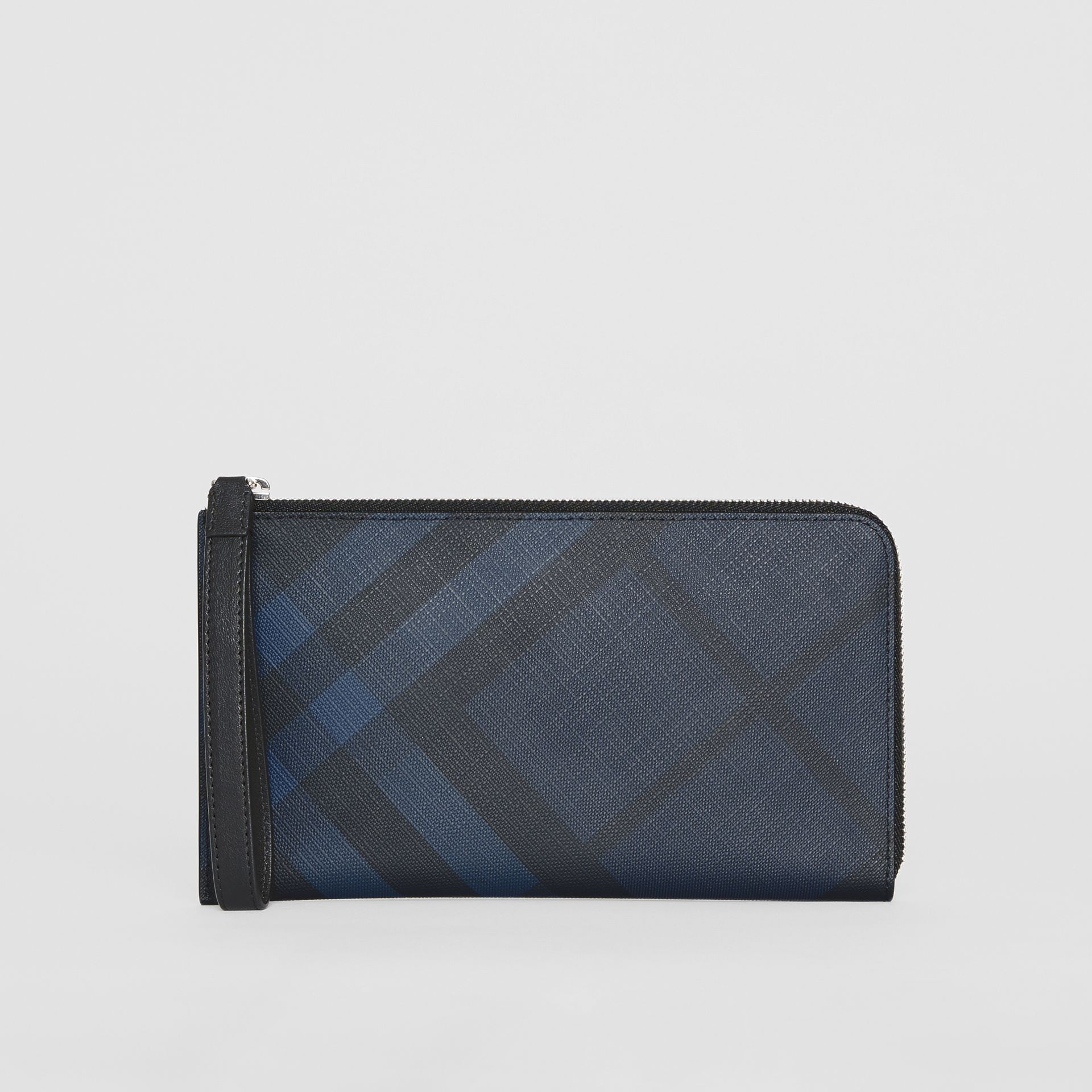 London Check and Leather Travel Wallet in Navy/black - Men | Burberry Hong Kong S.A.R - gallery image 0