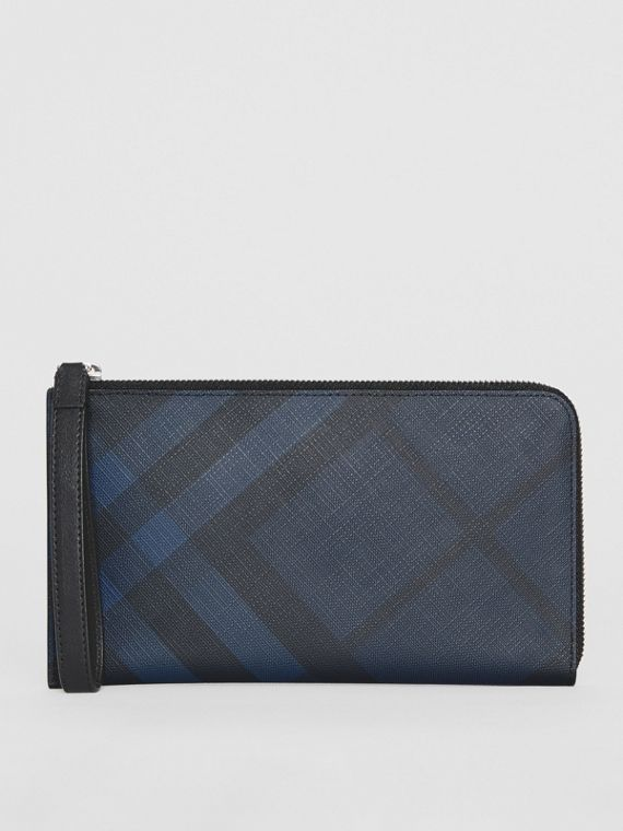 London Check and Leather Travel Wallet in Navy/black