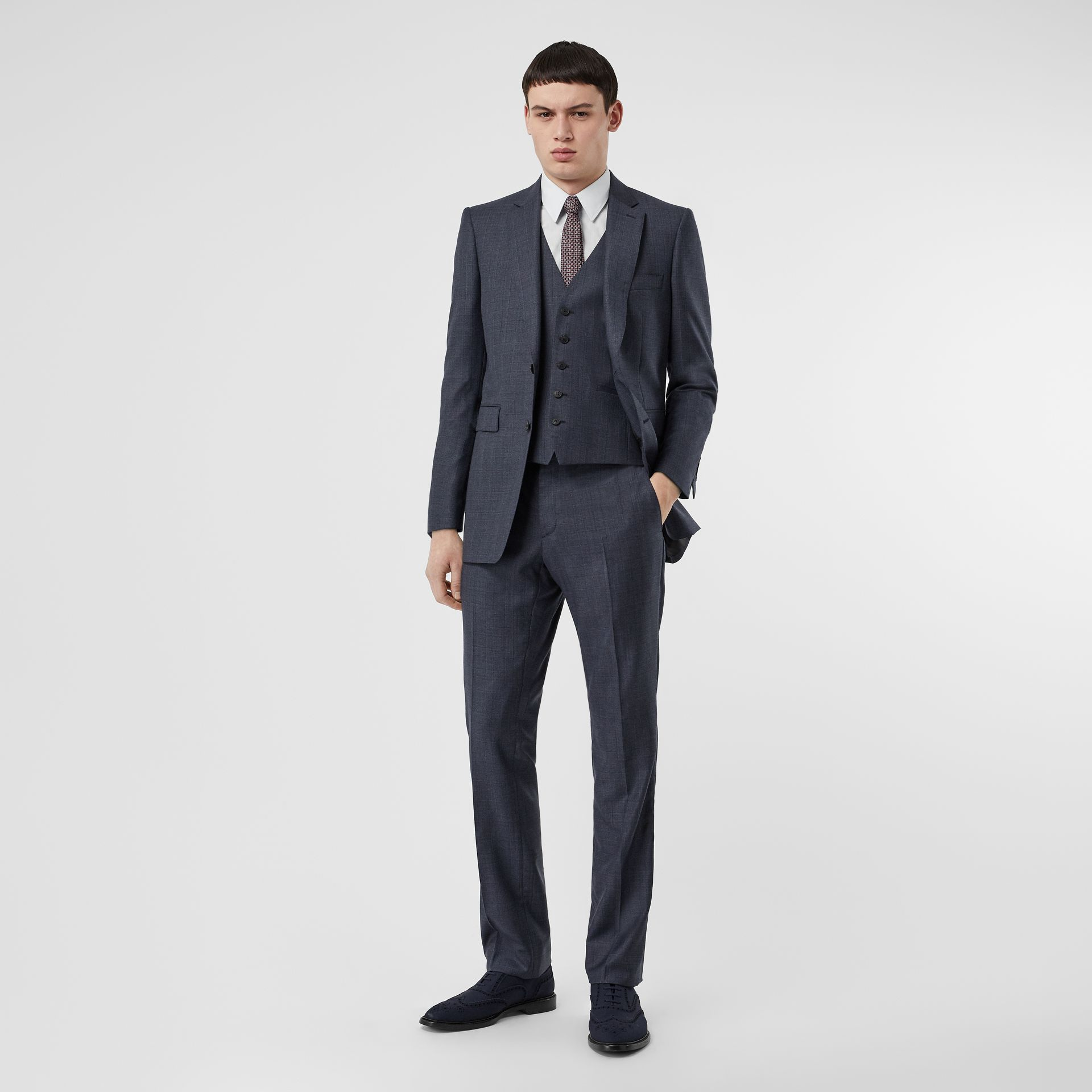 Classic Fit Check Wool Three-piece Suit in Steel Blue - Men | Burberry Australia - gallery image 0