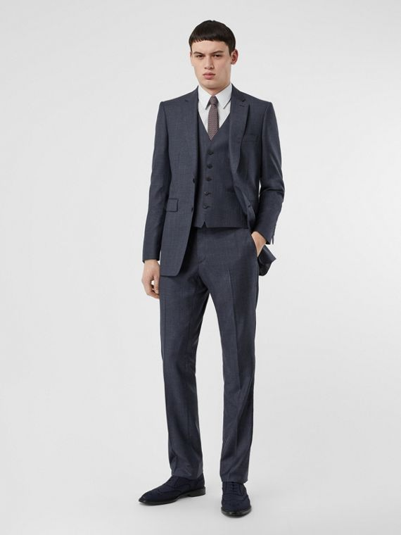 Classic Fit Check Wool Three-piece Suit in Steel Blue