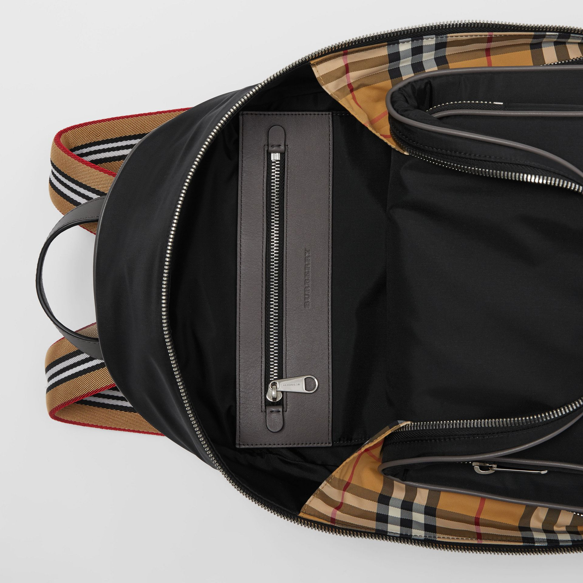 Icon Stripe Detail Nylon Backpack in Black - Men | Burberry - gallery image 4