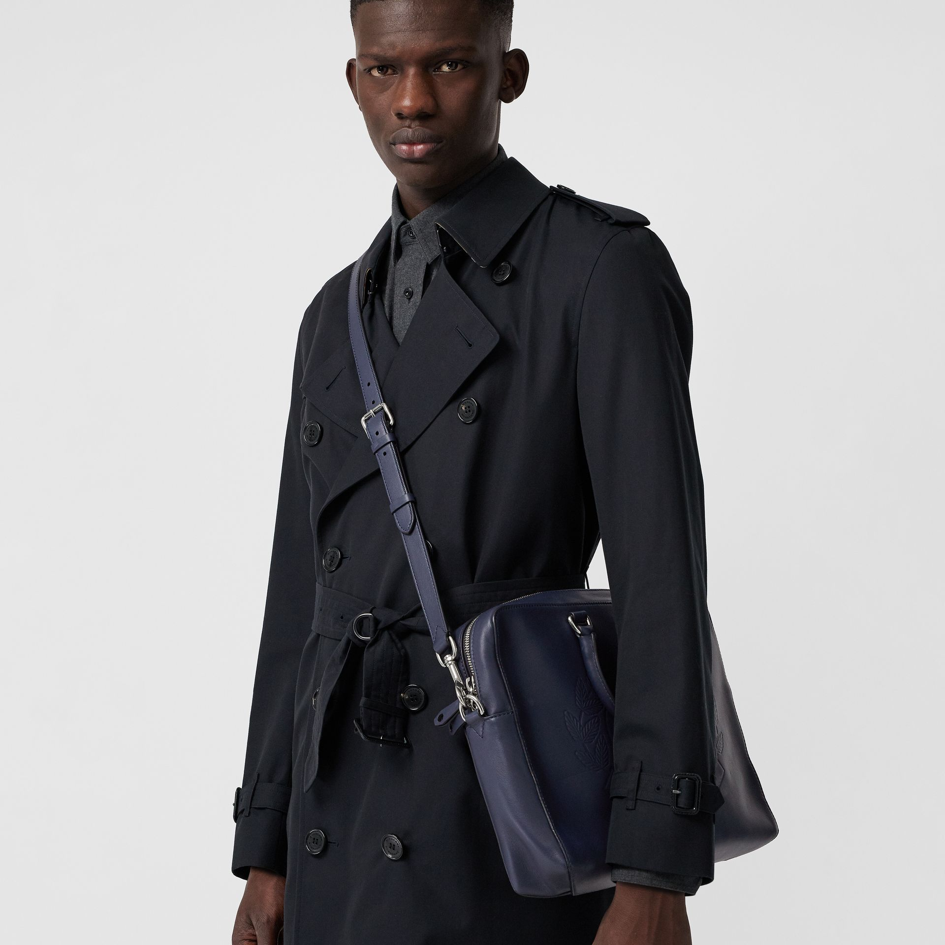 Embossed Crest Leather Briefcase in Regency Blue - Men | Burberry United States - gallery image 3