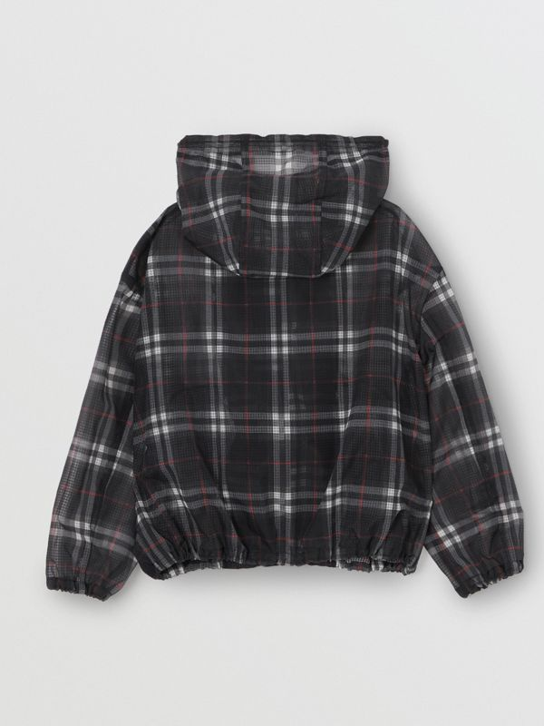 Vintage Check Nylon Hooded Jacket in Black | Burberry - cell image 3