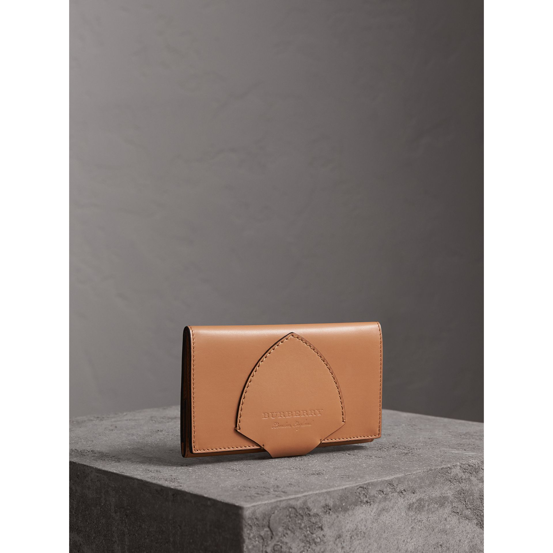 Equestrian Shield Leather Continental Wallet in Camel - Women | Burberry - gallery image 1