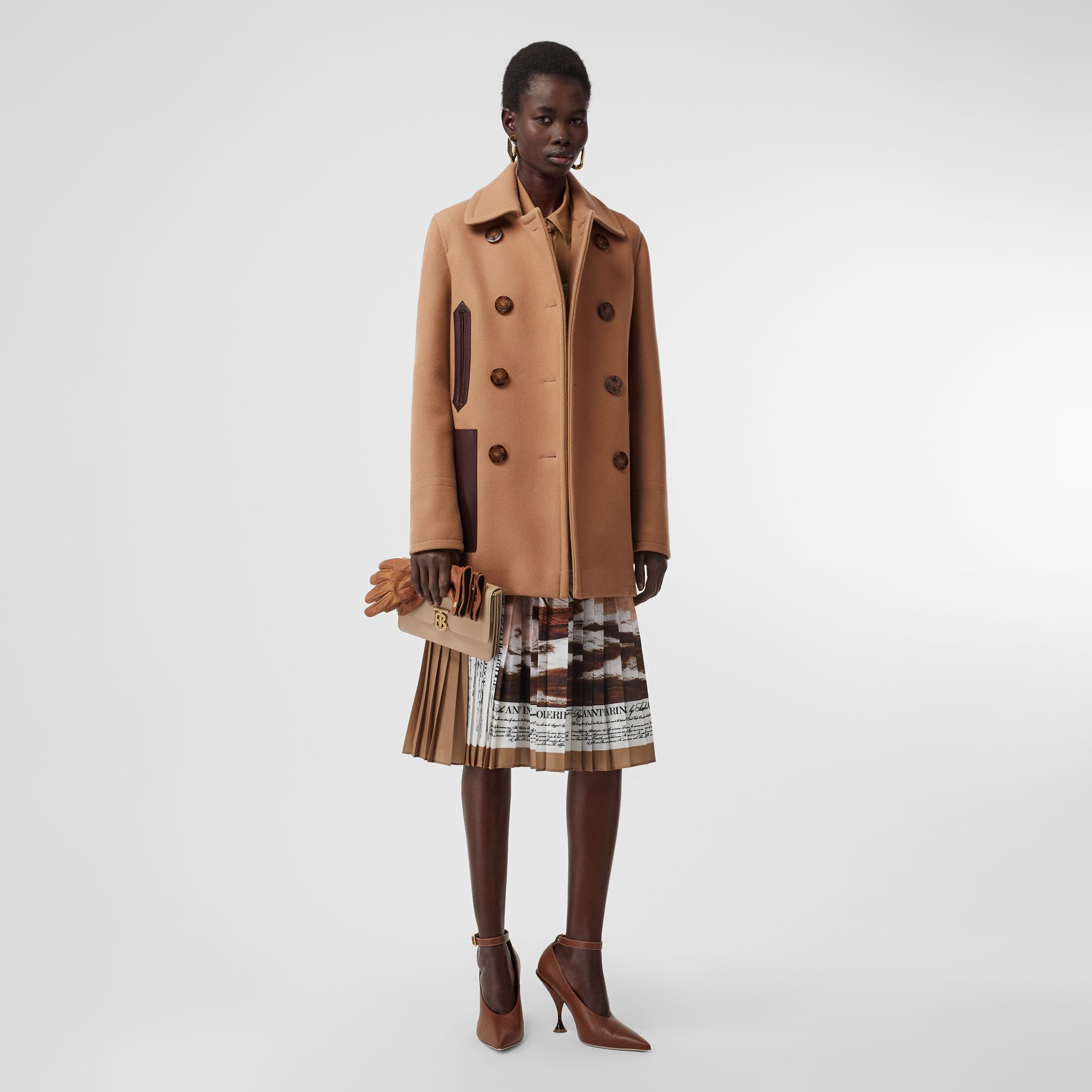 Lambskin Pocket Wool Blend Pea Coat in Camel - Women | Burberry - gallery image 0