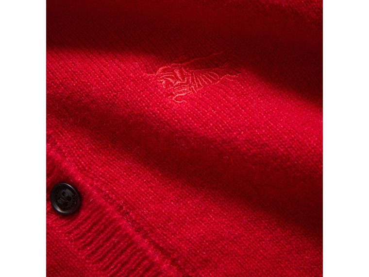 Check Detail Cashmere Cardigan in Parade Red - Girl | Burberry - cell image 1