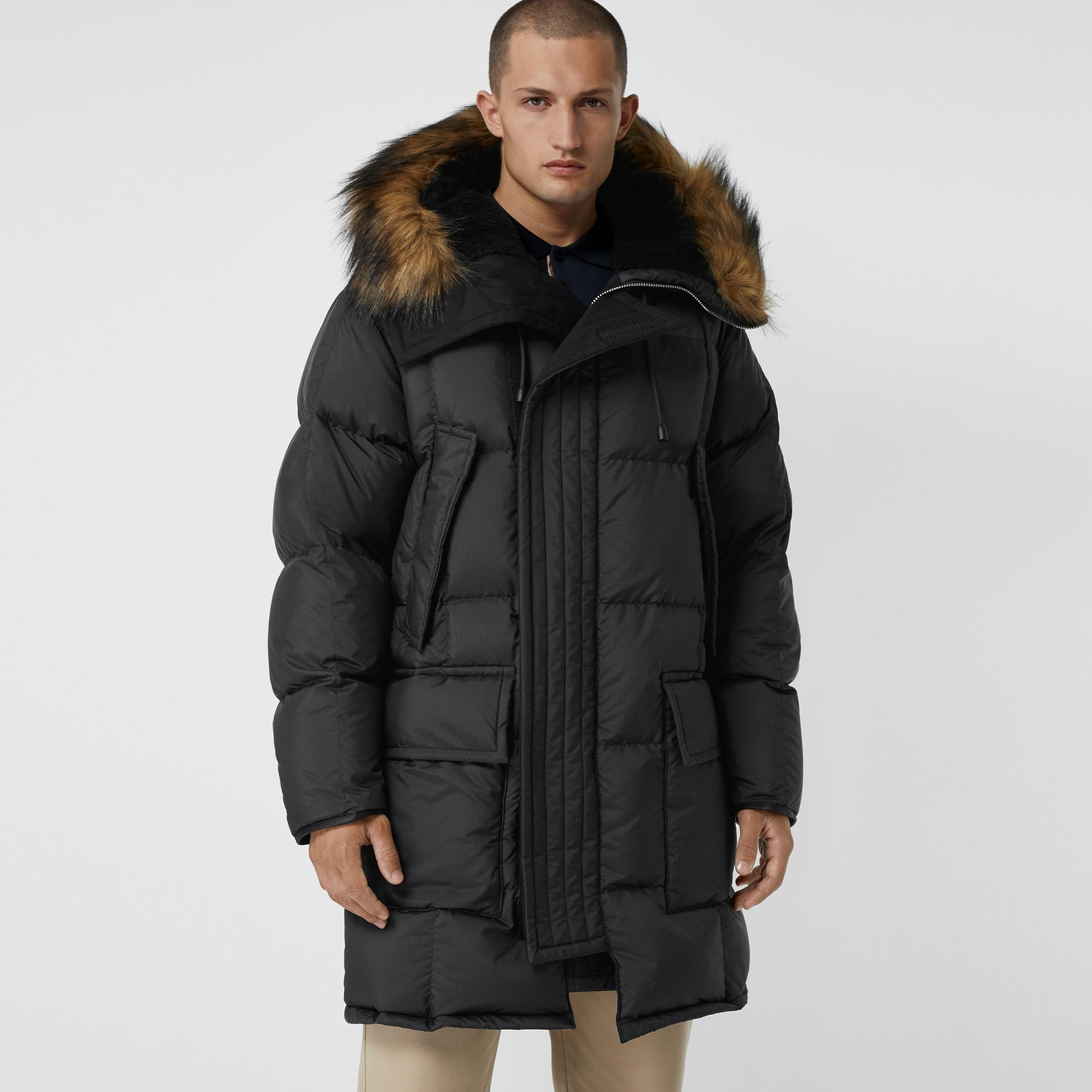 Faux Fur Trim Down-filled Hooded Parka in Black - Men | Burberry - gallery image 5
