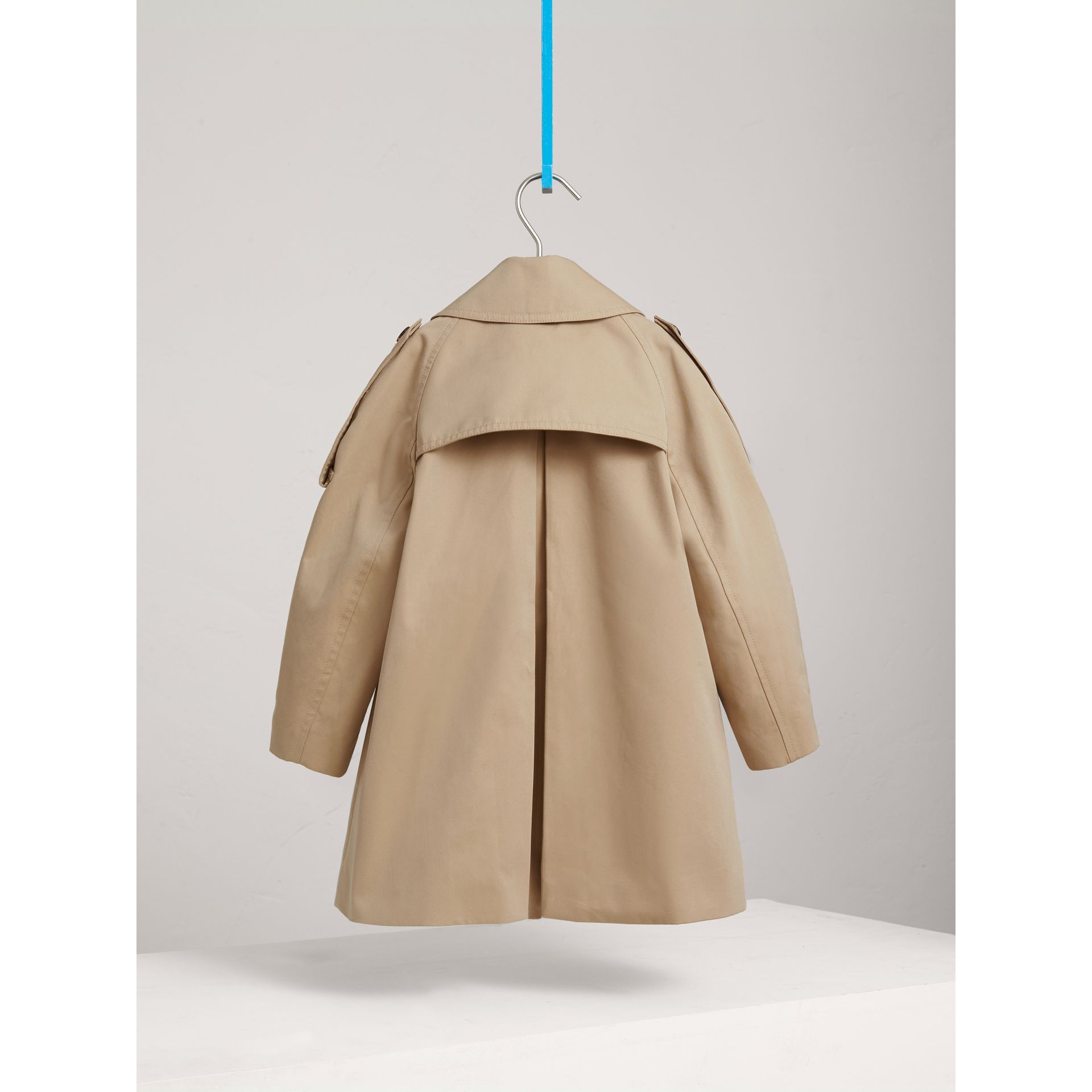Panel Detail Cotton Gabardine Trench Coat in Honey - Girl | Burberry - gallery image 4