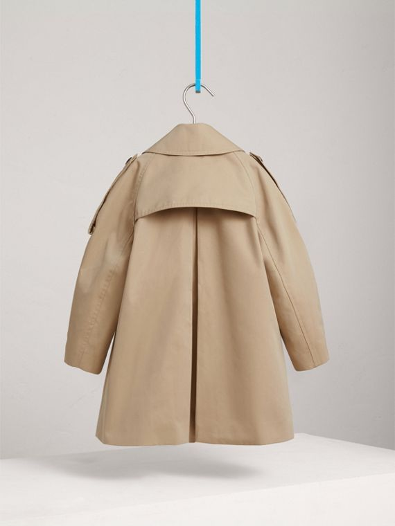 Panel Detail Cotton Gabardine Trench Coat in Honey - Girl | Burberry - cell image 3