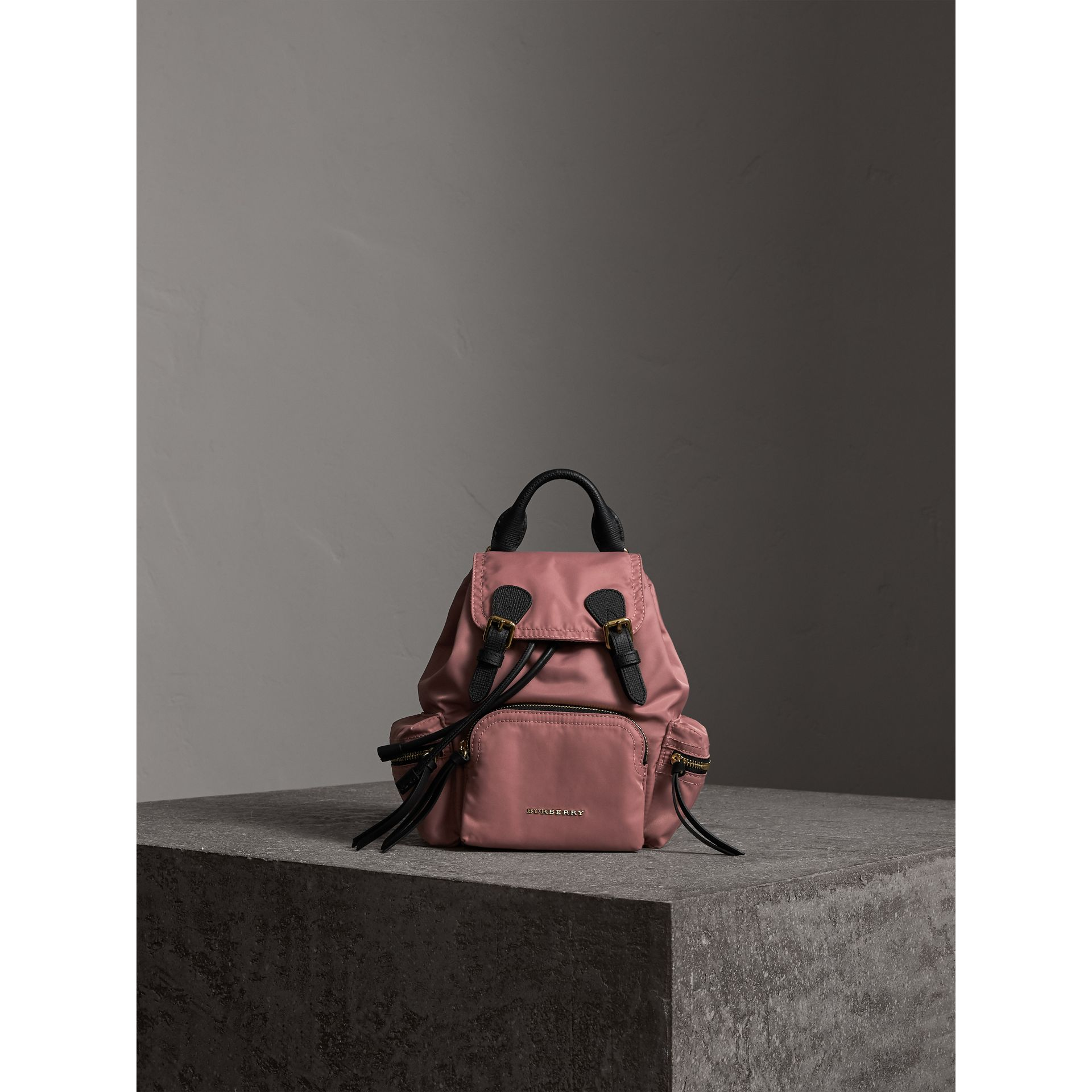 The Small Rucksack in Technical Nylon and Leather in Mauve Pink - Women | Burberry - gallery image 3