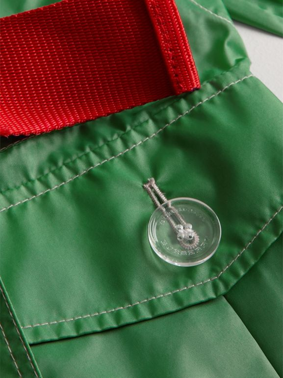 Tape Detail Rain Jacket in Bright Pigment Green | Burberry - cell image 1