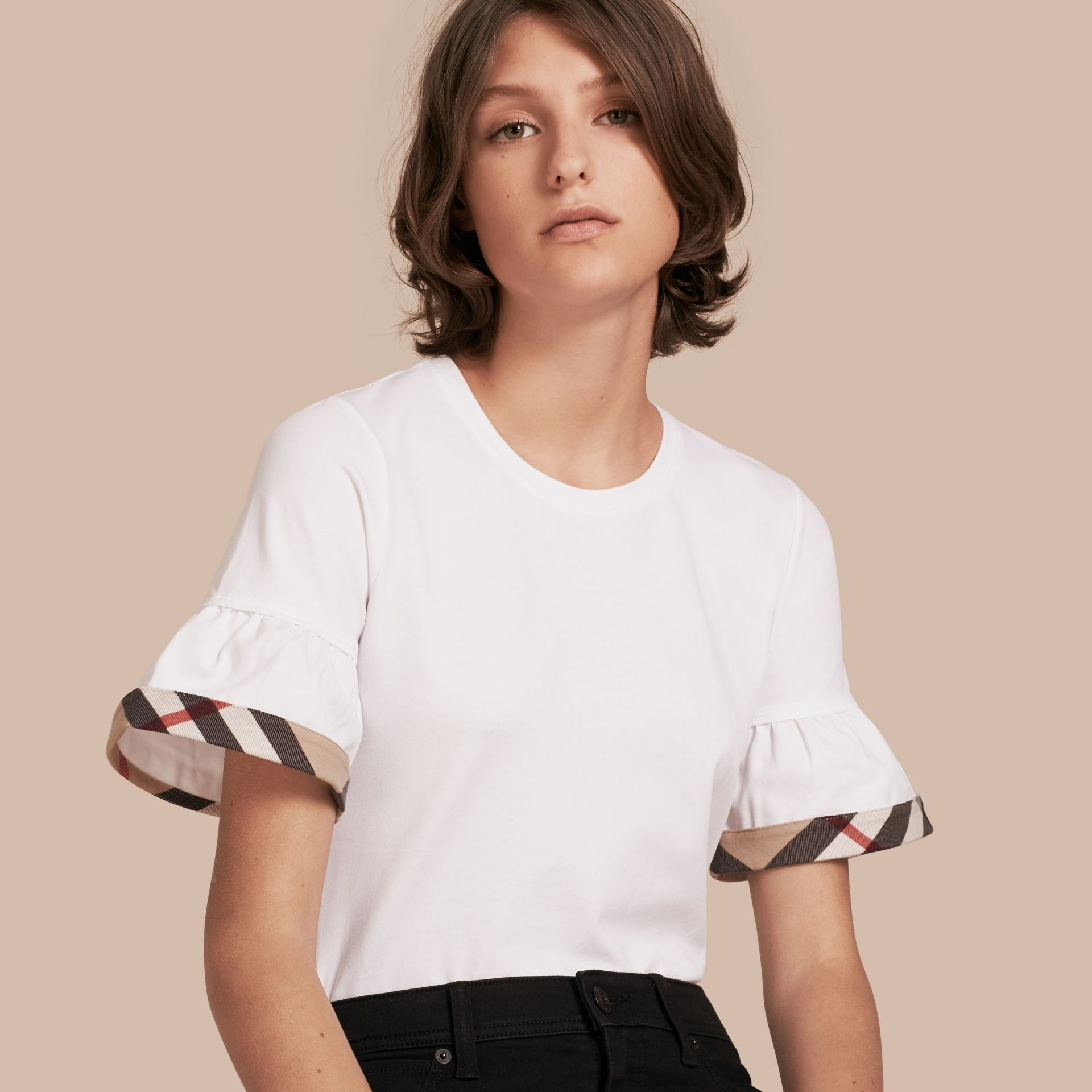 White Stretch Cotton T-shirt with Check Trim Ruffles White - gallery image 1