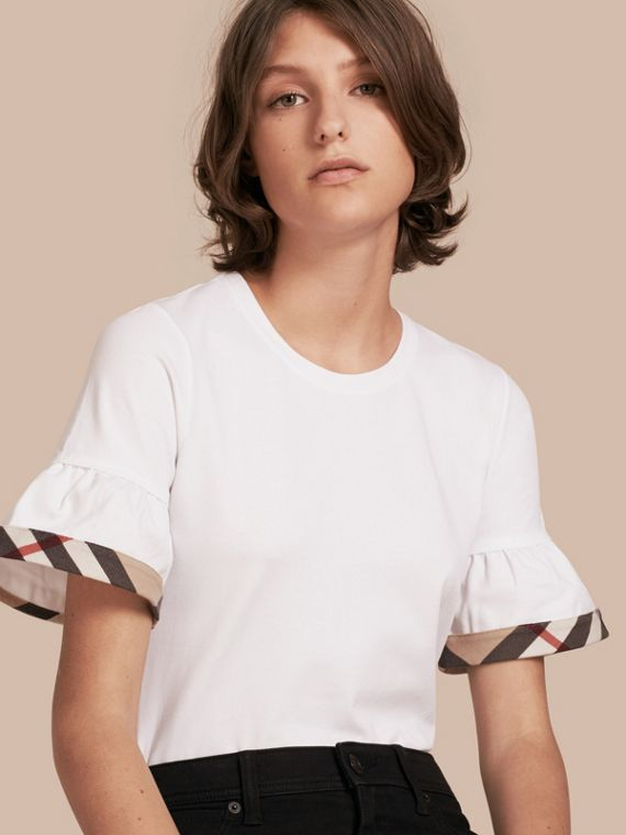 Stretch Cotton T-shirt with Check Trim Ruffles White