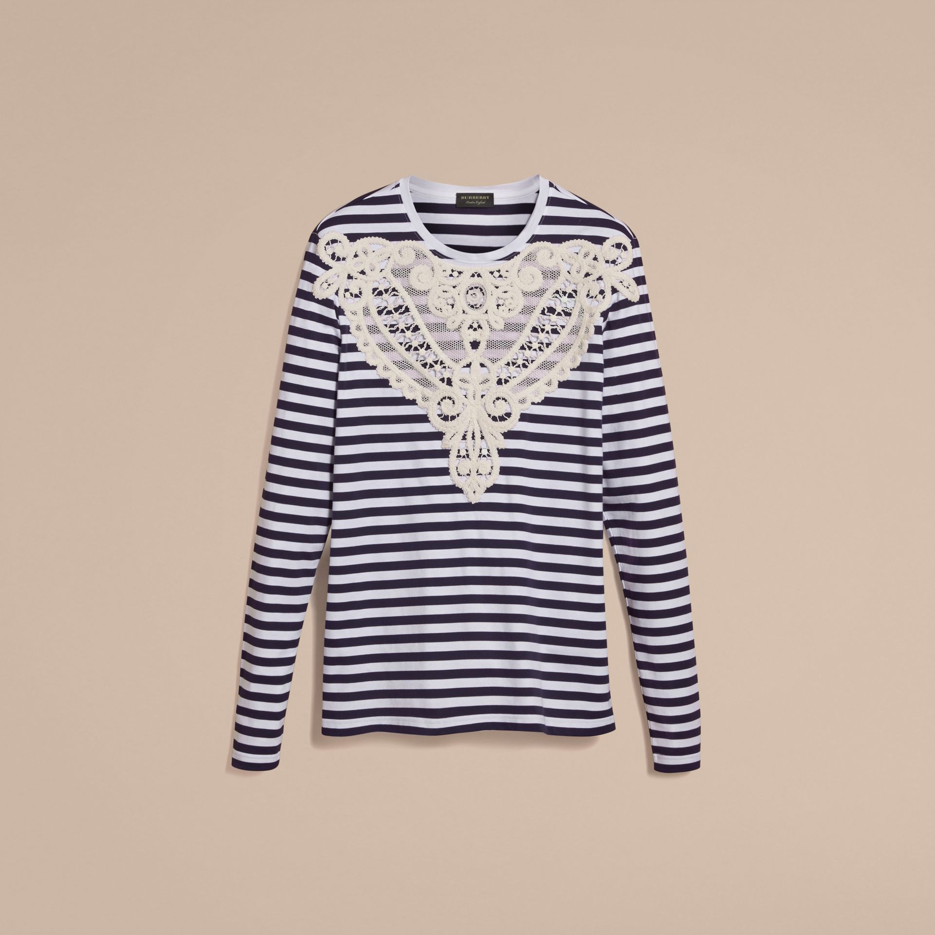 Unisex Lace Appliqué Breton Stripe Cotton Top in Indigo - Women | Burberry - gallery image 3