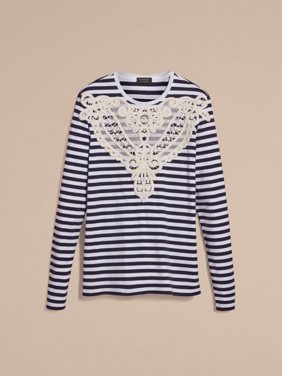 Unisex Lace Appliqué Breton Stripe Cotton Top in Indigo - Women | Burberry - cell image 3