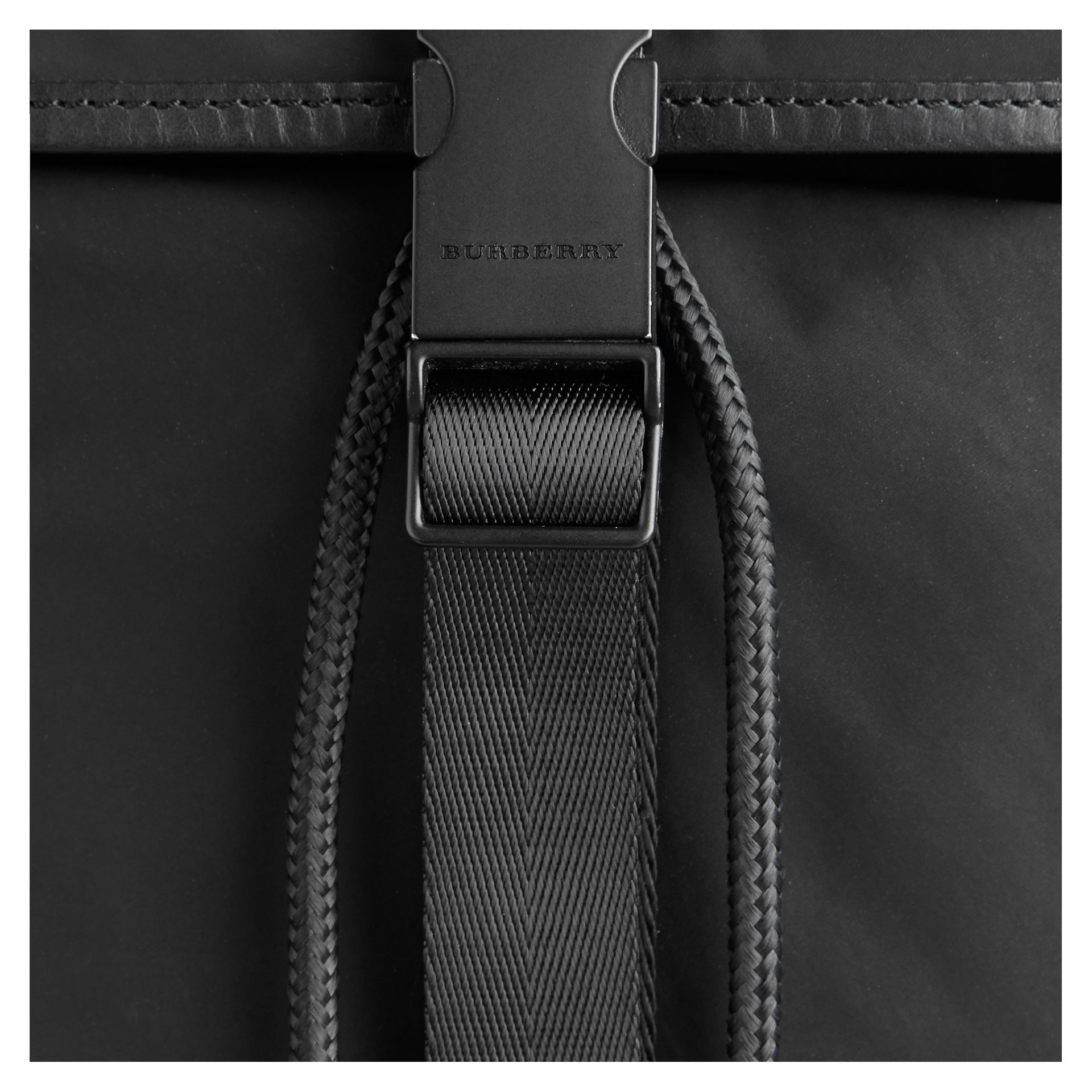 Black Leather Trim Lightweight Backpack Black - gallery image 2