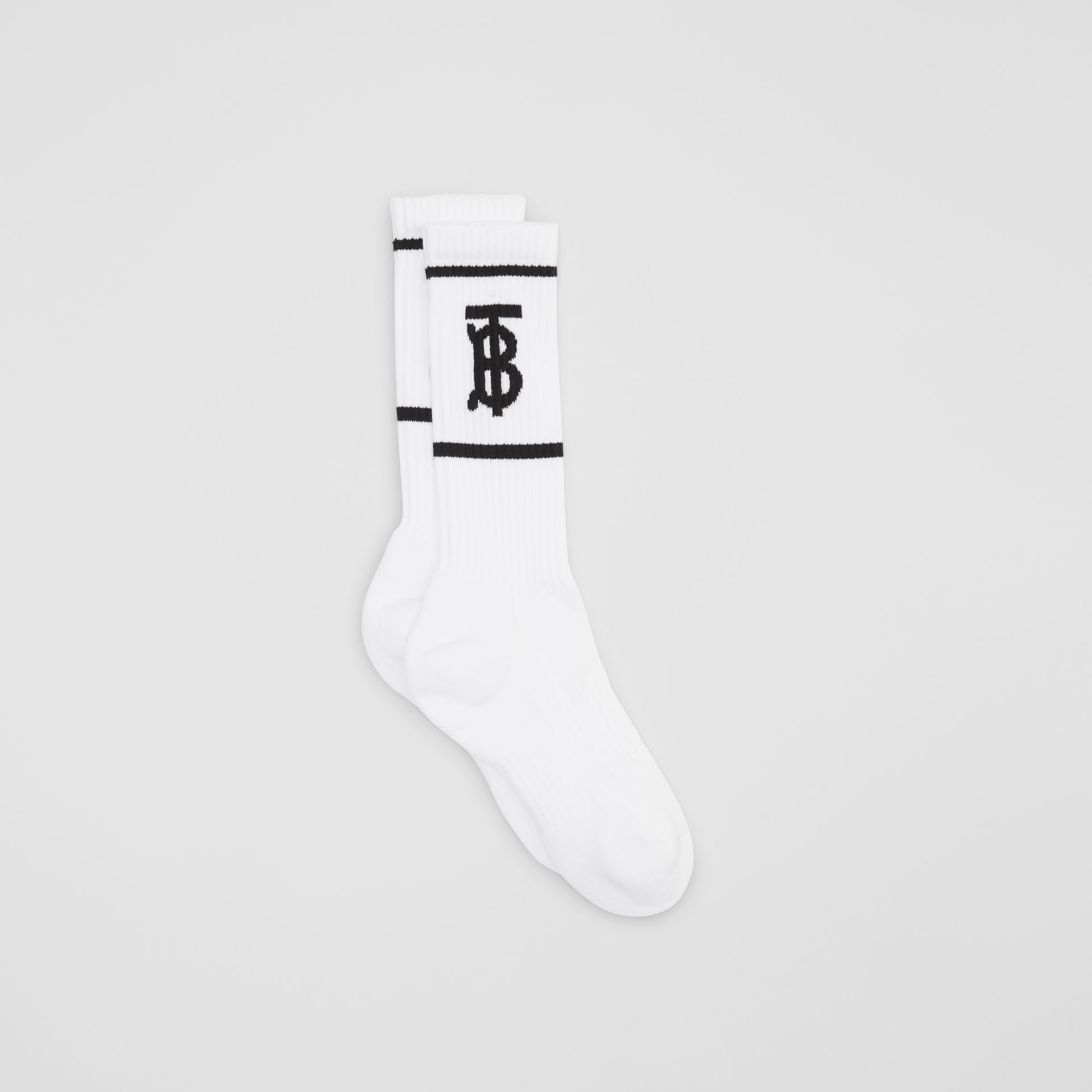 Monogram Motif Intarsia Socks in White | Burberry Singapore - gallery image 4