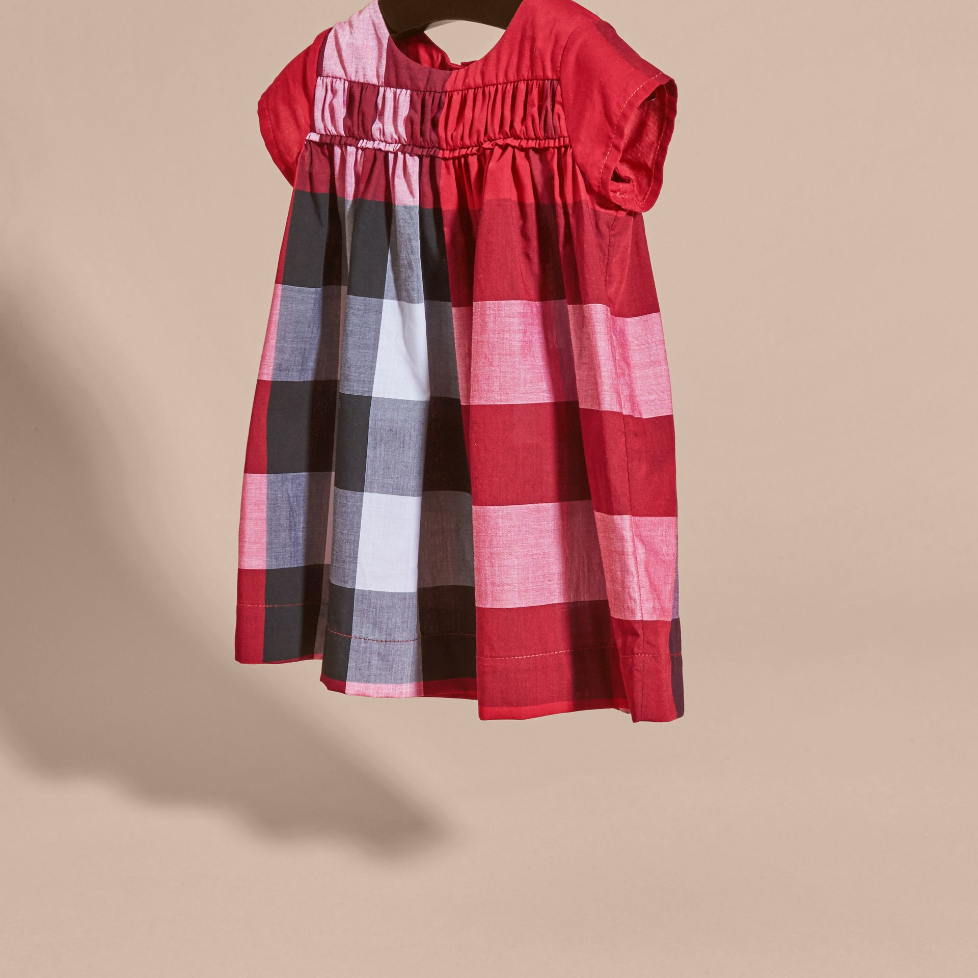 Parade red Check Cotton Dress Parade Red - gallery image 3