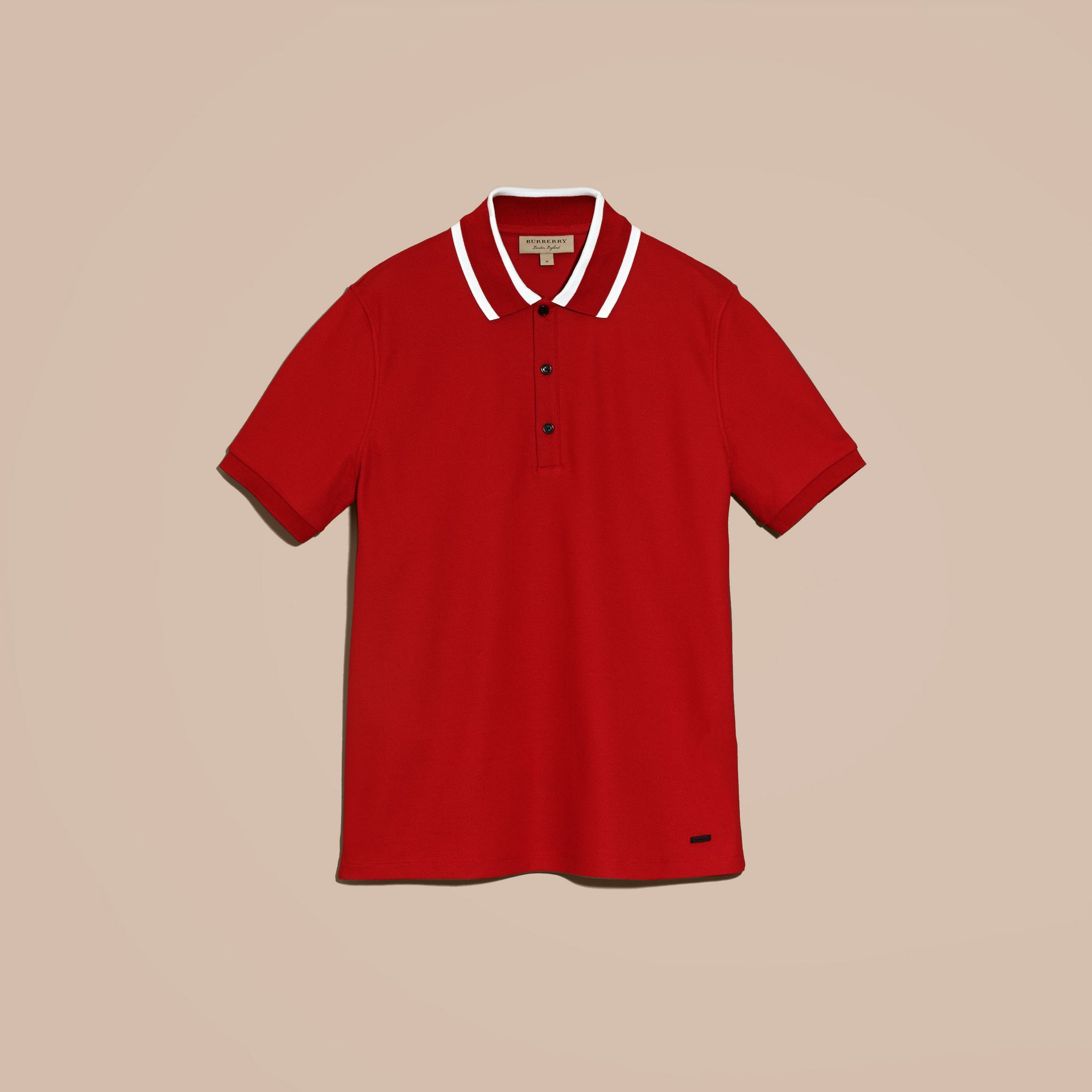 Striped Collar Cotton Piqué Polo Shirt Uniform Red - gallery image 4