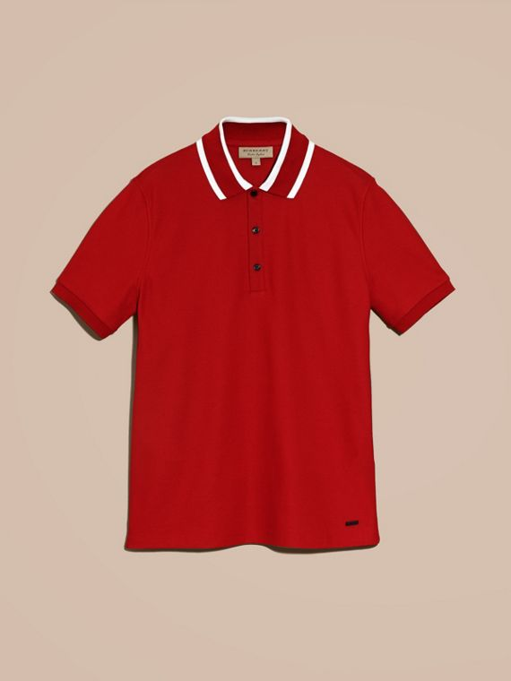 Striped Collar Cotton Piqué Polo Shirt in Uniform Red - cell image 3