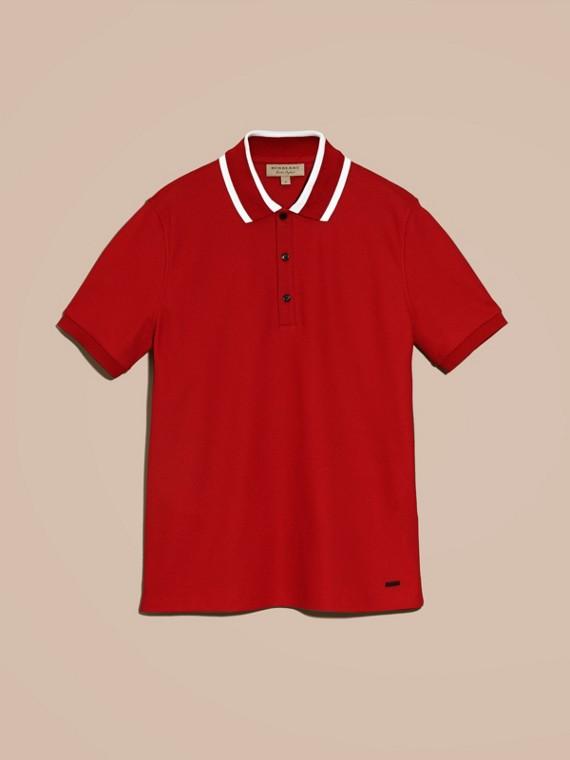 Polo en piqué de coton avec col rayé Rouge Uniforme - cell image 3