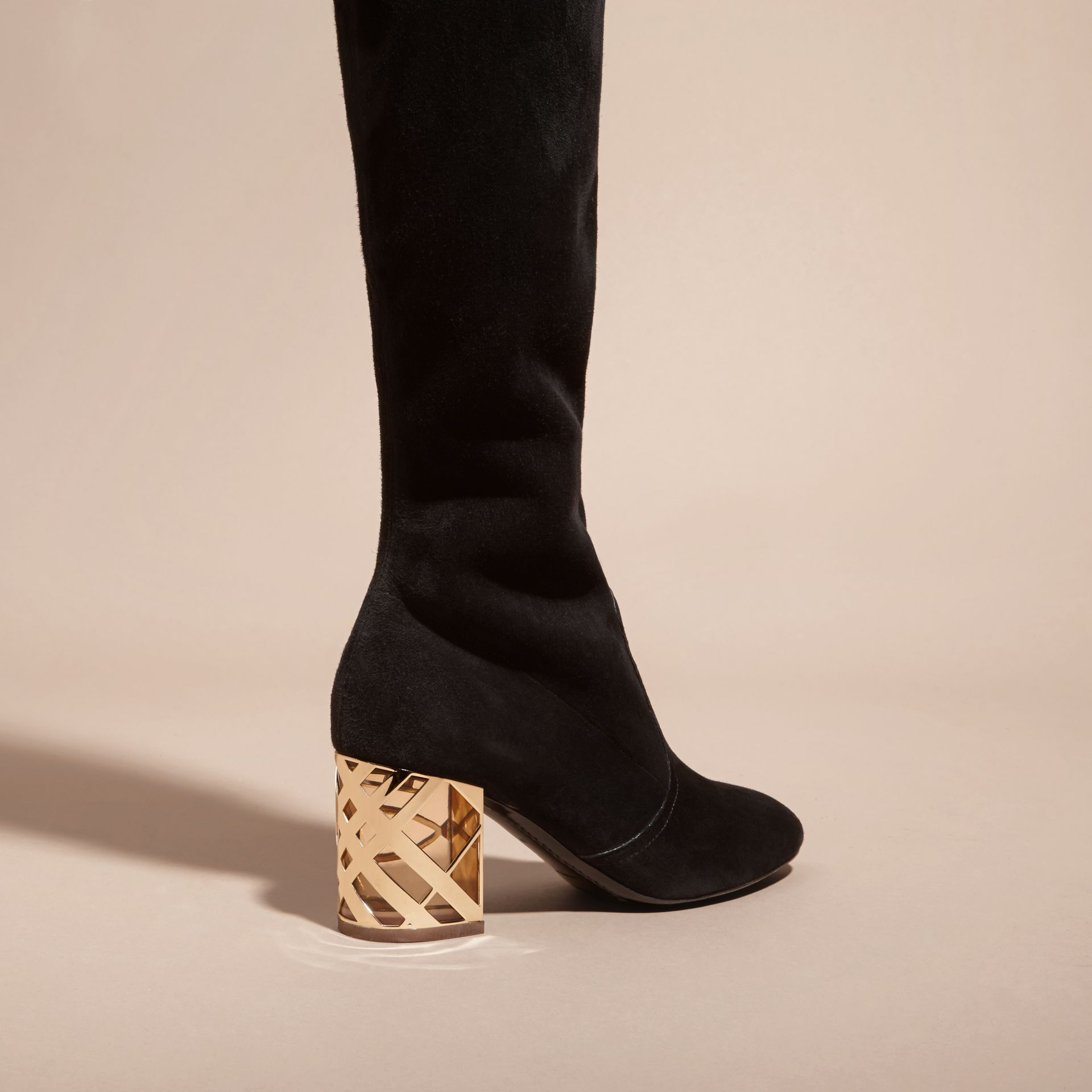 Black Check Heel Suede Over-the-knee Boots - gallery image 4