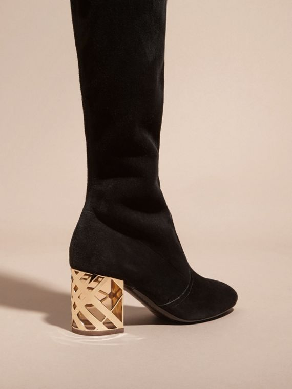 Black Check Heel Suede Over-the-knee Boots - cell image 3