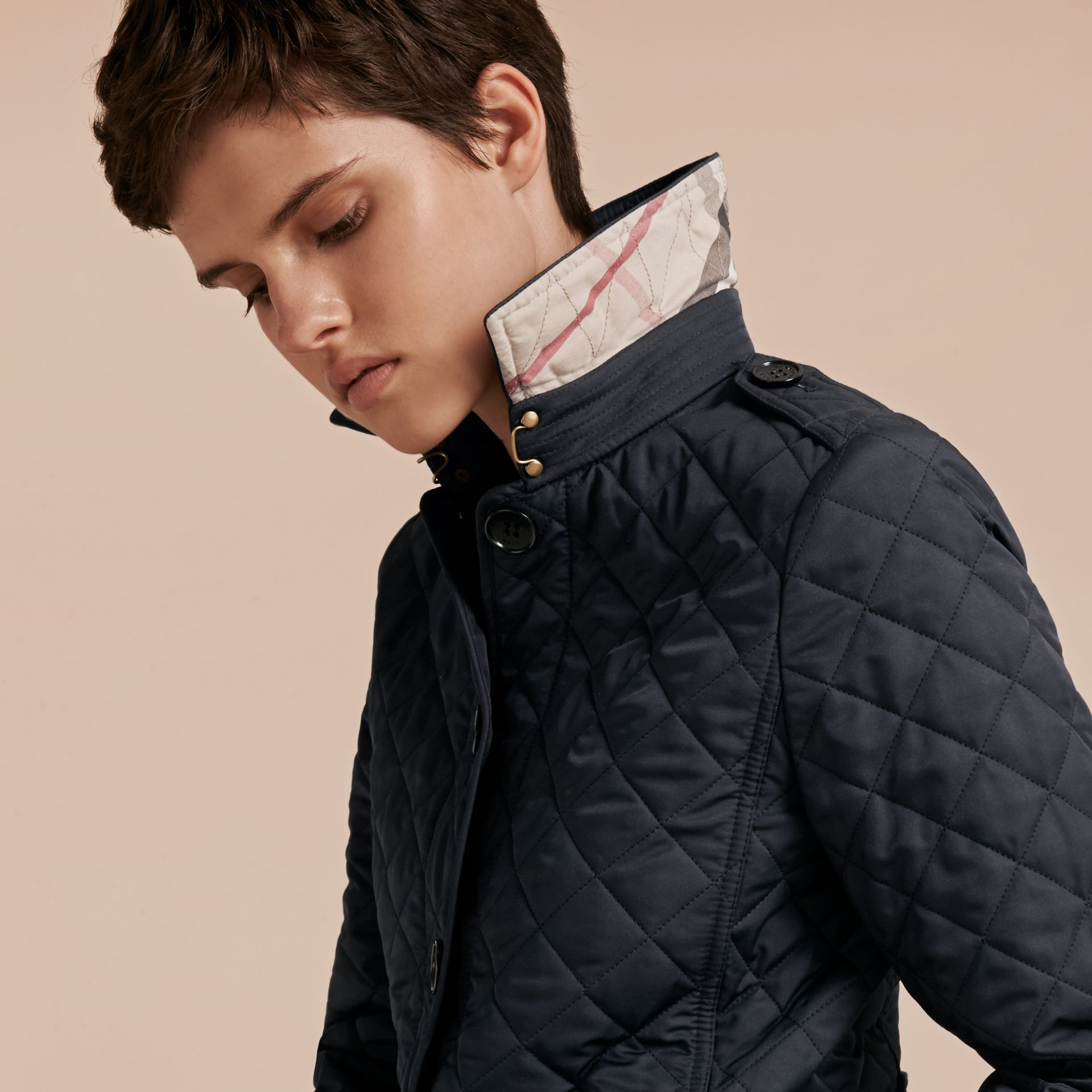 Navy Diamond Quilted Jacket Navy - gallery image 5