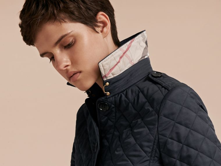 Navy Diamond Quilted Jacket Navy - cell image 4
